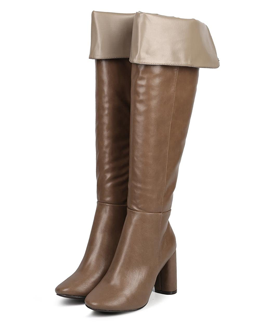 Women's Beige Faux Leather Fold Over Knee-High Tailored Boot - DeluxeAdultCostumes.com