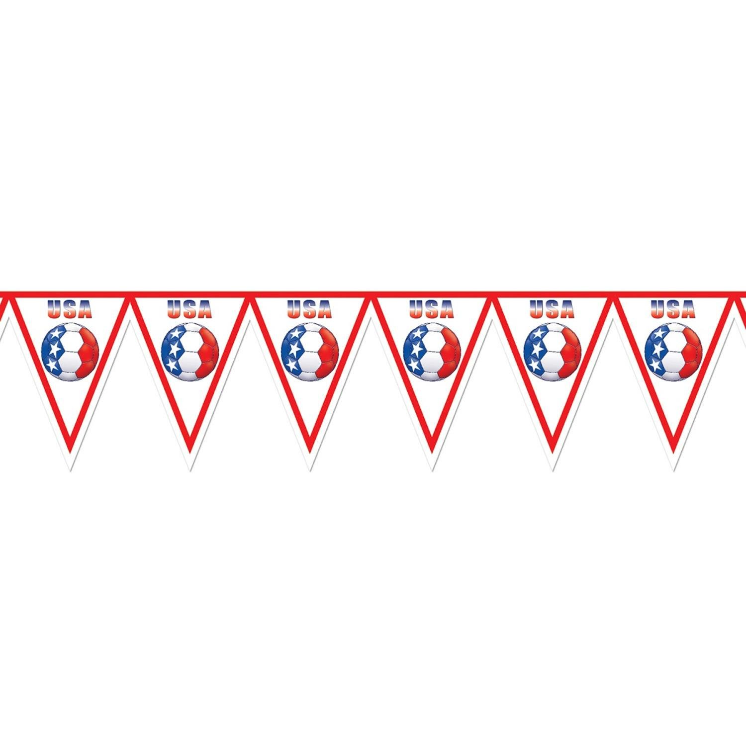 Pack of 6 Red, White and Blue ''USA'' Soccer Themed Pennant Banner Party Decorations 7.4' by Party Central