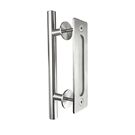 flush door pulls. smartstandard 12\u0026quot; pull and flush door handle set stainless steel sliding barn pulls