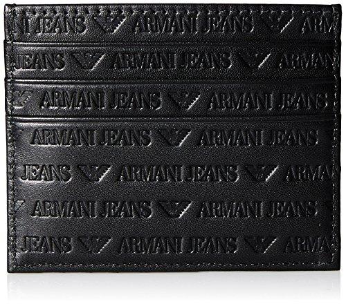 Armani Jeans Men's All Over Logo Credit Card Holder, black, One - Exchange Credit Card Armani