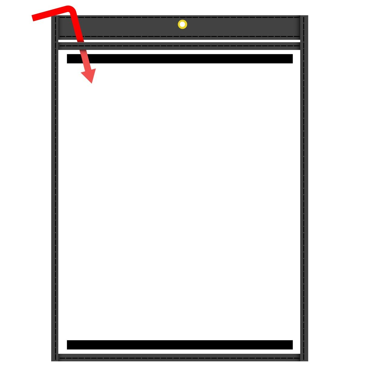 StoreSMART - Magnetic Rigid-Vinyl Sewn Pocket - Black - 9 x 12 inches - 10-Pack - Open on The Short Side - for Refrigerator or Locker -T85726SBKM-10 by STORE SMART