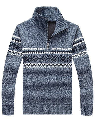 Lentta Men's Winter Casual Stand Collar Half Zip Thick Knit Pullover Sweaters (Steel Gray, Large)