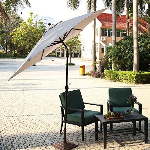 Homdox Ø2,75m 9FT Alu Gartenschirm Sonnenschirm Regenschirm Terrassenschirm mit Dreh-Kipp-Mechanismus Kurbelschirm Sonnenschutz UV-Schutz Rund faltbar tragbar (Hell Grau)