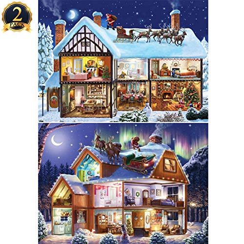 5D Diamond Painting Christmas House Full Drill by Number Kits for Adults Kids, DIY Rhinestone Pasted Paint Set for Arts Craft Decoration 2 Pack by Yomiie (12x16inch)