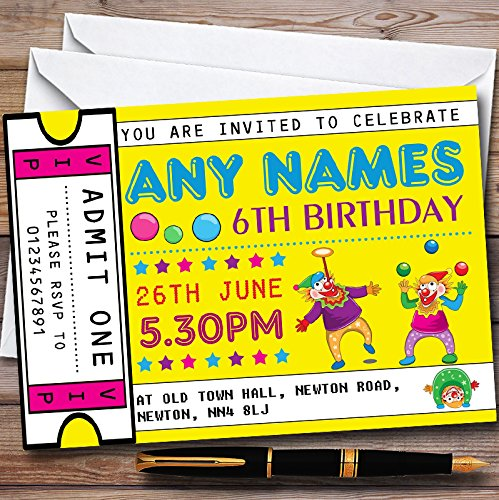 Clown Ticket Personalized Childrens Birthday Party Invitations
