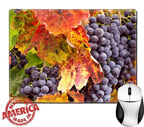 "Luxlady Natural Rubber Mouse Pad/Mat with Stitched Edges 9.8"" x 7.9"" IMAGE ID: 26620120 Wine Grapes in Autumn - Edge Napa Valley Cabernet"