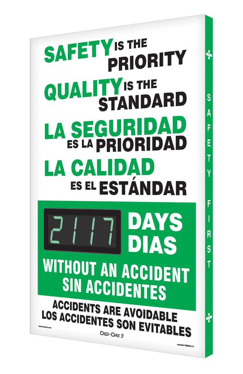 Accuform SBSCK117 Spanish Bilingual Aluminum Digi-Day Electronic Scoreboard, Legend ''SAFETY IS THE PRIORITY QUALITY IS THE STANDARD -'', 28'' Height x 20'' Width x 2'' Depth, Green/Black on White