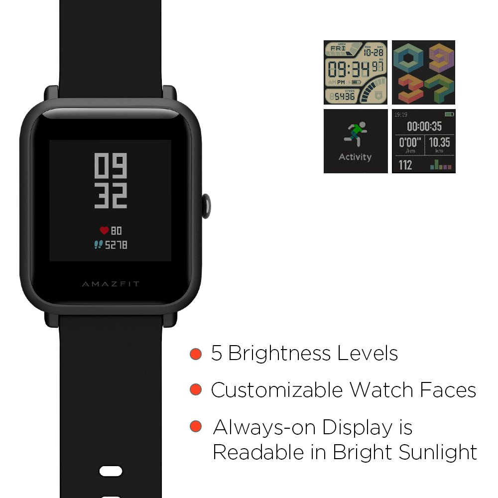 Amazfit Bip Smartwatch with All-Day Heart Rate and Activity Tracking (A1608  Black)
