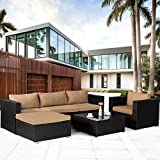 Cloud Mountain 6 PC Patio PE Rattan Wicker Furniture Set Backyard Sectional Furniture Set Outdoor Patio Garden Sectional Sofa Set, Black Rattan with Khaki Cushions