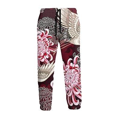 Grullas y crisantemos Blancos japoneses en Pantalones de chándal ...