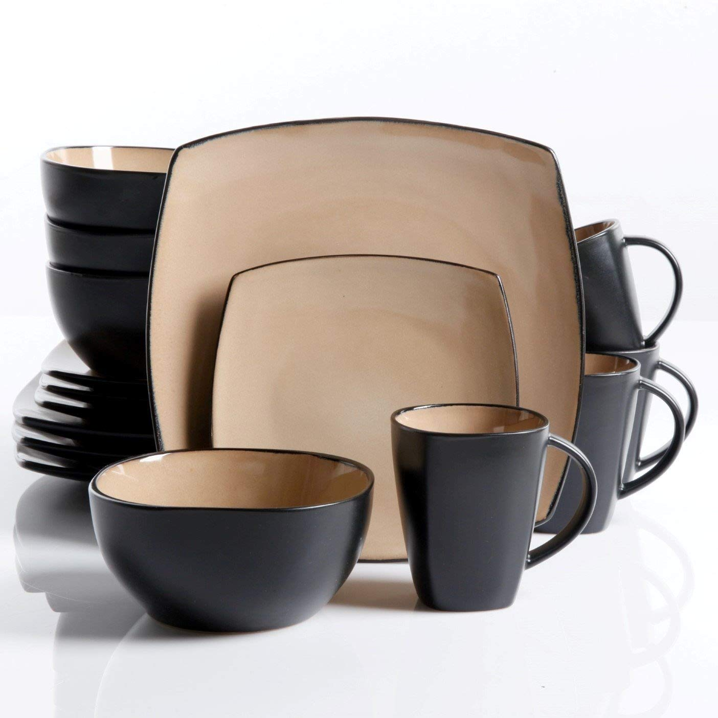 Gibson Elite Soho Lounge Reactive Glaze 16 Piece Dinnerware Set in Taupe; Includes 4 Dinner Plates; 4 Dessert Plates, 4 Bowls and 4 Mugs