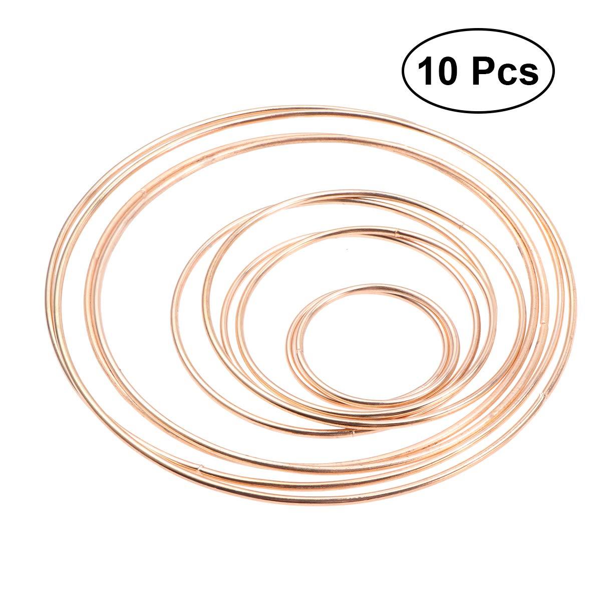 Vosarea 10pcs Anillos de Metal Aros Metal macramé Anillos para de Atrapasueños Bricolaje artesanía (5cm/8cm/10cm/14cm/16cm)