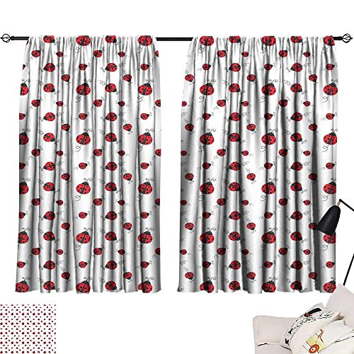 Detroit Red Wings Valance - Ediyuneth Decorative Curtains for Living Room Ladybugs,Ladybug with Dotted Wings Swirls and Curves Abstract Simple Pattern Animal,Red Black White 84