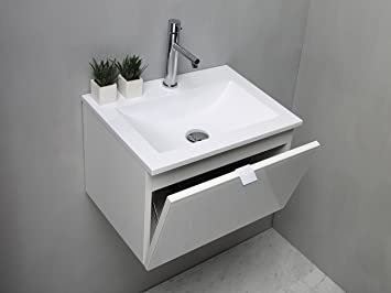 Mobile Bagno 50 Cm.Arredo Bagno Mobile Bagno Da Cm 50 Con Lavabo Lavandino In Mineralmarmo Bianco Lucido