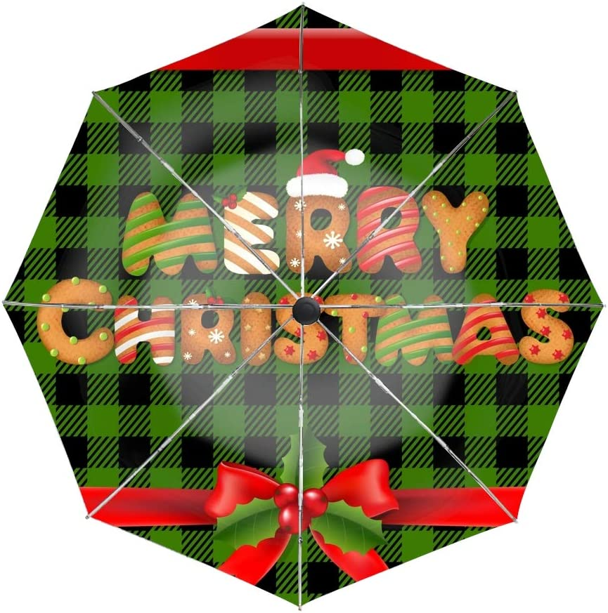 Auto Open and Close for Men and Women Unbreakable Merry Christmas Cookies Compact Travel Umbrella Windproof
