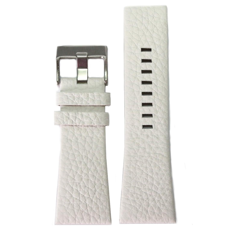 30 mm Geunineレザー腕時計バンドホワイト色ステンレススチールバックル  B076V2XLZM