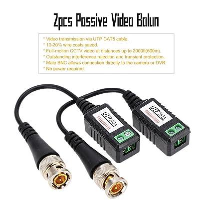 KKmoon 1 Canal de Video Balun Pasivo Receptor Coaxial BNC a UTP Cat5 Cable para CCTV