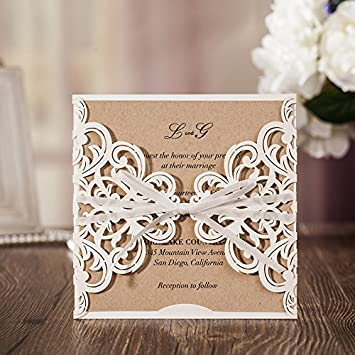Amazon jofanza wedding invitations cards laser cut white rustic jofanza wedding invitations cards laser cut white rustic square invitation with bow lace sleeve for engagement stopboris Image collections
