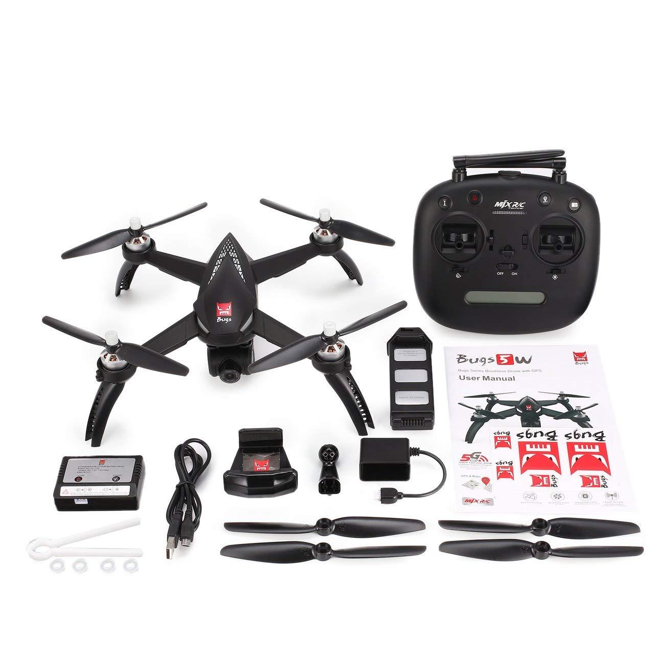 Fannty Für MJX Bugs 5 Watt B5 Watt Brushless Motor GPS FPV RC Drone Quadcopter mit Einstellbarer 5G WiFi 1080 P Kamera Follow Me Hovering