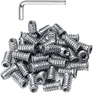 40pcs Threaded Inserts for Wood 1/4-20 Furniture Screw in Threaded Insert Nuts 20mm Length