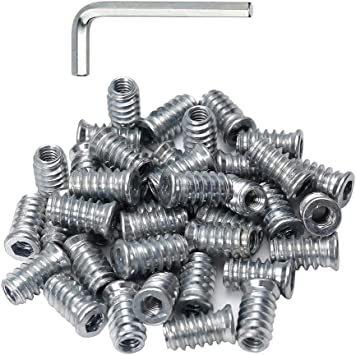 50pcs 1//4-20 Threaded Inserts for Wood Nutsert Screw in Nut 1//4-20 15mm Length