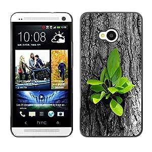 PC/Aluminum Funda Carcasa protectora para HTC One M7 Beautiful Nature Tree Fresh Leaves Grow / JUSTGO PHONE PROTECTOR