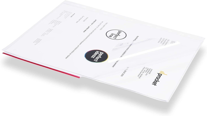per proteggere carte tasche da collezione chiare e trasparenti perfect line 100 buste portadocumenti DIN-A4 di aperte a met/à pellicole trasparenti extra forti 105 /µ con bordo colorato