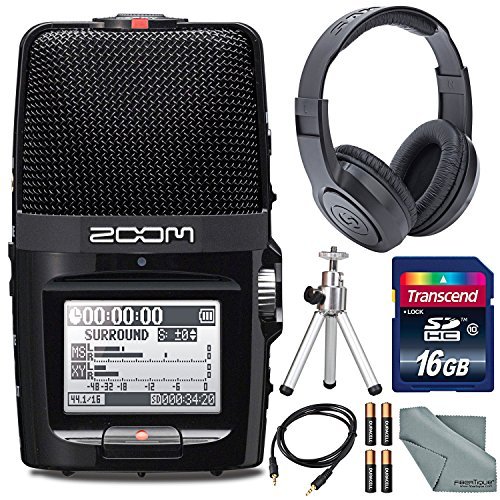 Zoom H2n Handy Digital Recorder along With Samson Studio Headphones and Deluxe Accessory Bundle by Zoom