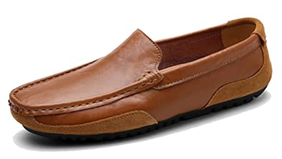 Men's Slip-on Rubber Sole Low-Top Leather Driving Walking Loafers Boat Shoes