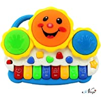 Negi Drum Keyboard Musical Toys with Flashing Lights Animal Sounds and Songs (Multicolor)