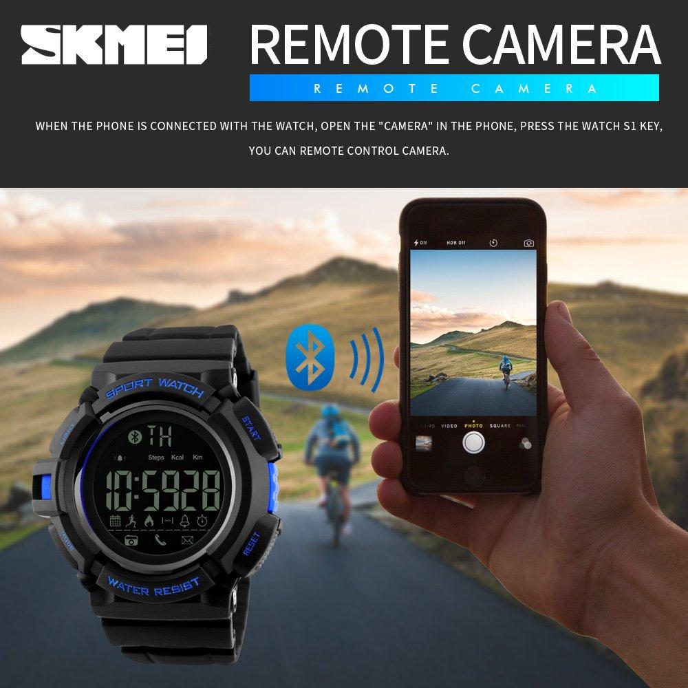 Amazon.com: SKMEI 1245 Smart Watch Bluetooth 50M Waterproof Multifunction Digital Sport Wrist Watches for Men (Blue): Cell Phones & Accessories