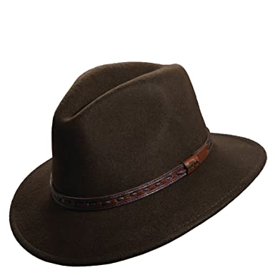 303e4f29d8564c Scala Classico Men's Crushable Felt Safari With Leather Hat, Brown/Olive  shades,M