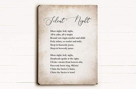 Cartel de Madera de Navidad con Texto en inglés «Silent ...