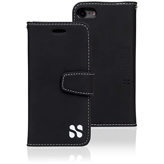 the best attitude ab948 01ae1 Anti Radiation RFID iPhone Case: iPhone 7 and iPhone 8 ELF & RF Blocking  Identity Theft Protection Wallet (Black)