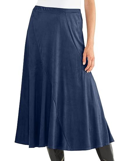 c53c46eebd AmeriMark Washable Suede Skirt Navy at Amazon Women's Clothing store:
