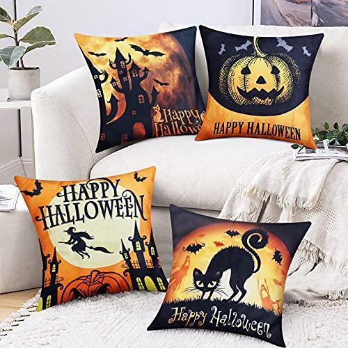 Sofevaim Halloween Orange Black Throw Pillow Covers,4 Packs Burlap Cushion Covers,Bat Cat Moon Castle Pumpkin Fall Decorative for Sofa,Living Room