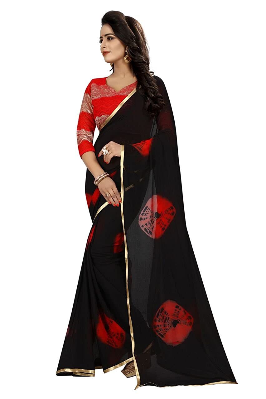 677ea8d60a4cd Purvi Fashion Women s Chiffon Saree With Blouse Pics (RED WOMEN Black  Colour Free Size) (Black 01)  Amazon.in  Clothing   Accessories
