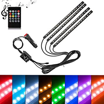 XT AUTO 4Pcs Car LED Neon Undercar Glow Lights Underglow Atmosphere Decorative Bar Lights kit Strip RGB Multicolor Neon Underbody 8 Color with Sound Active and Wireless Remote