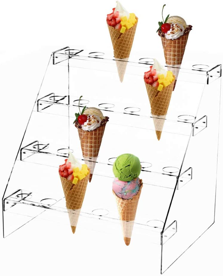 Fivtyily Clear Acrylic Food Cone Display Stand Rack Ice Cream Cone Serving Holder for Buffets Party (4 Layer, 24 Hole)