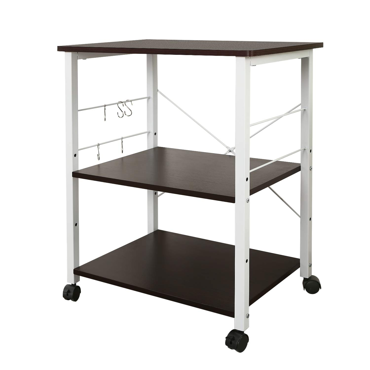 WLIVE Kitchen Baker's Rack, Utility Storage Shelf, Microwave Oven Stand, Side Table, Storage Cart Workstation Shelf with Hooks and Casters by WLIVE