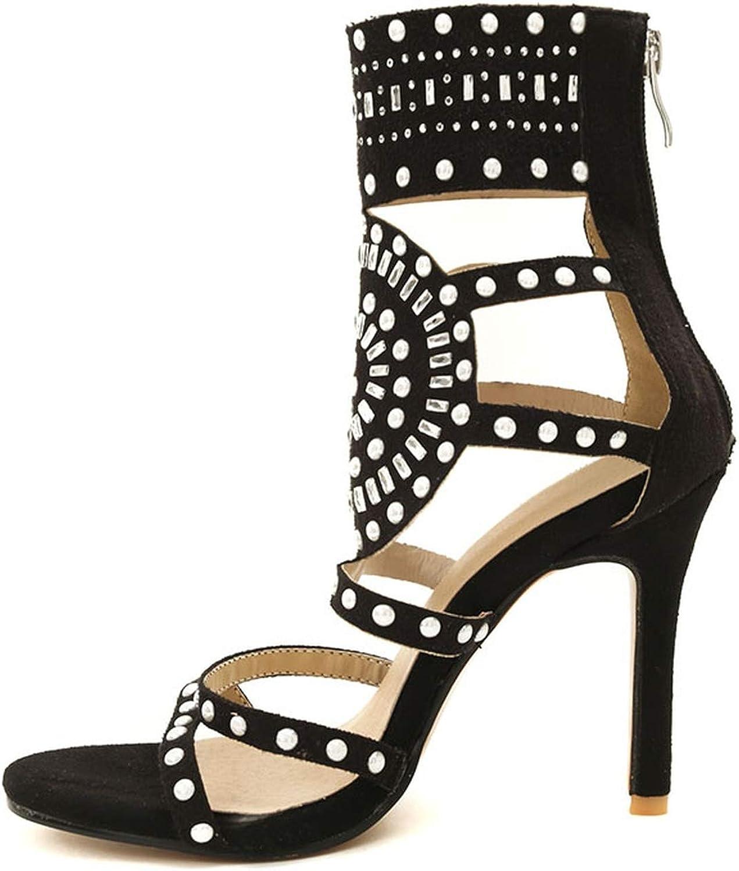 Size 32-46 Ladies High Heel Sandals Zipper Thin Heel Gladiator Sandals Woman Fashion Graceful Shoes Office Footwear,Black,7