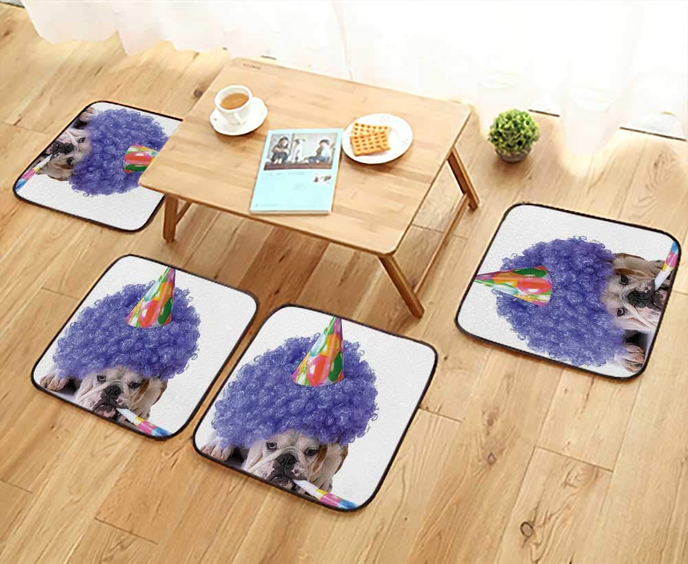 Luxurious Household Cushions Chairs for Kids Boxer Dog Animal with Purple Wig with Colorful Party Cone Multicolor Soft and Comfortable W31.5 x L31.5/4PCS Set