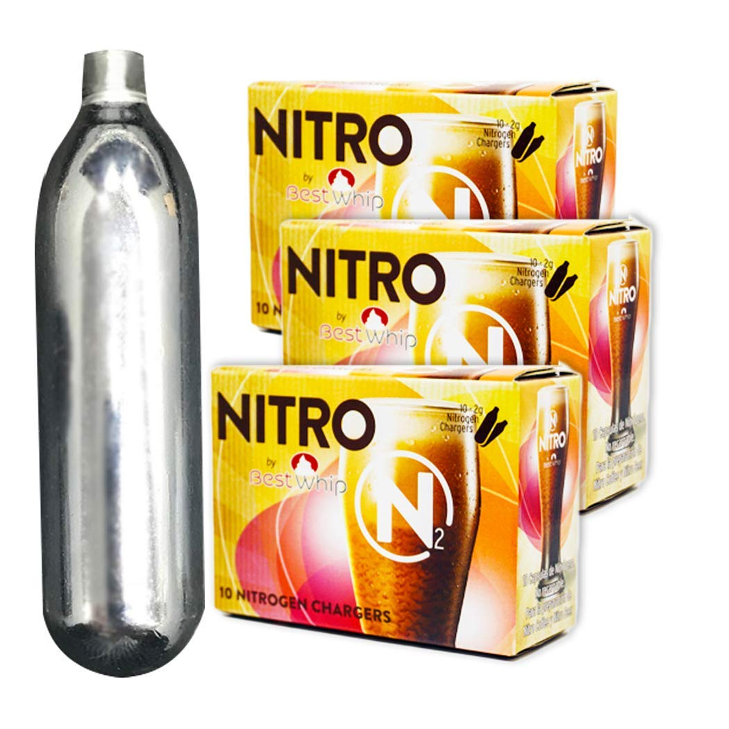 Nitrogen Cartridges - N2 Cartridges NITRO by Best Whip - Coffee Beer Cold Brew Nitro - Non-threaded Nitrogen Chargers - N2 Chargers (30 pack) by Market Knox
