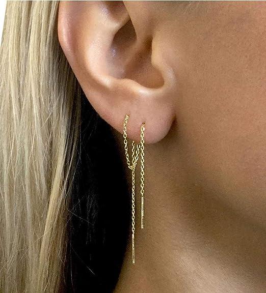 Sterling Silver Threader Earrings Long Chain Threader Earrings Bar Earrings Jewelry sets Earring ID37547
