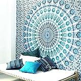 Eyes of India - Large Queen White Blue Indian Elephant Mandala Tapestry Hanging Picnic Bohemian Boho