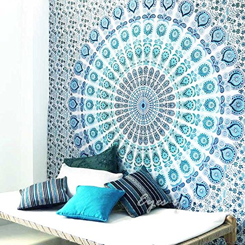 EYES OF INDIA - QUEEN WHITE BLUE INDIAN ELEPHANT MANDALA TAPESTRY HANGING Picnic Bohemian Decor