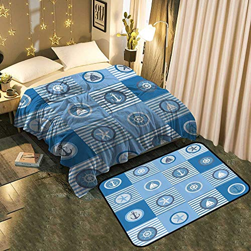 TableCovers&Home Extra Cozy Reversible Blanket and European Traditional Carpet Set Lightweight Super Soft Cozy Blanket 50