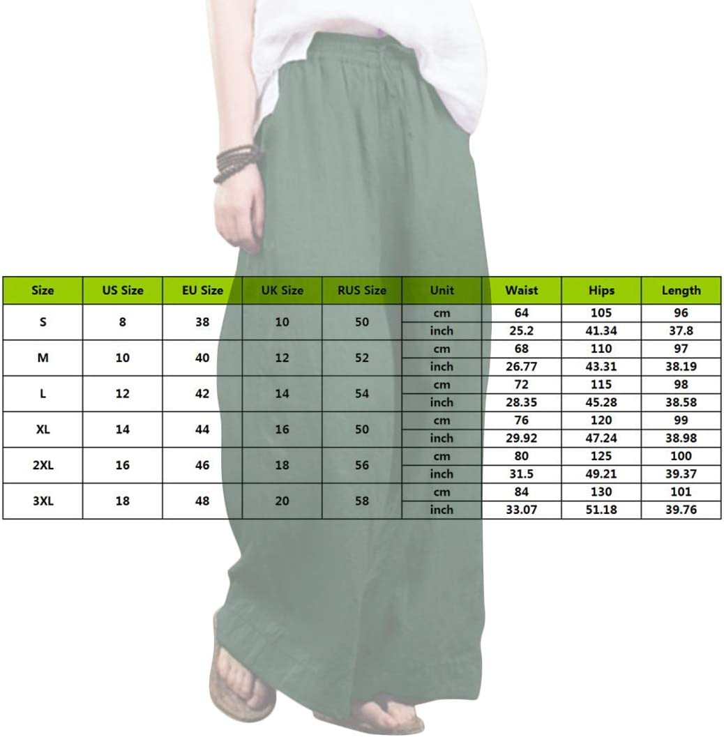 S-XXXL Puimentiua Womens Wide Leg Casual Loose Pants Solid Elastic Waist Cotton Blend Trouser Cropped Wide Leg Pants.