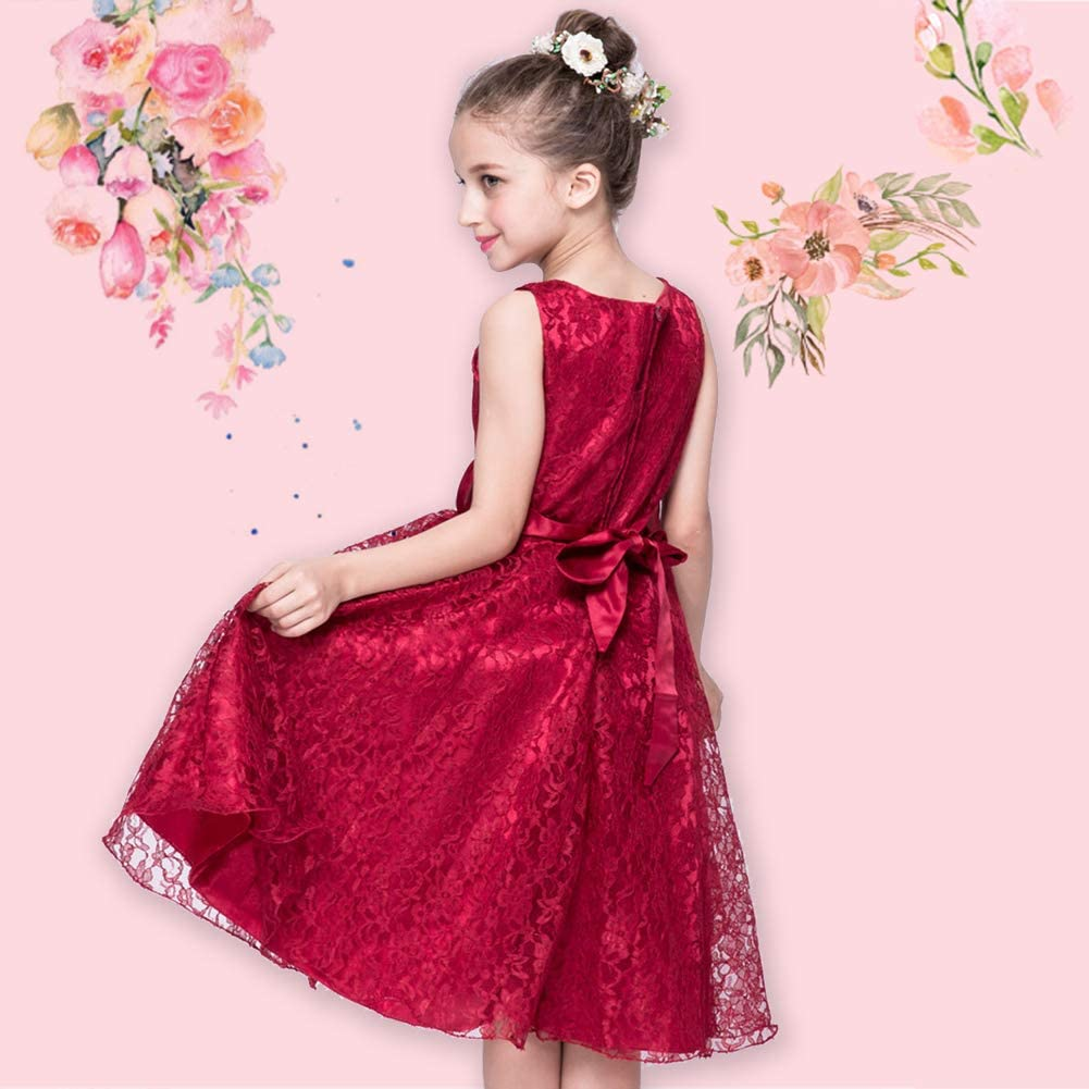 LPATTERN Lace Tulle Flower Girl Dresses Sleeveless Wedding Formal Bridesmaid Ball Gown Party School Prom Princess Dress