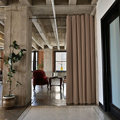 Custom Room Dividers - RoomDividersNow Premium Heavyweight Tension Rod Room Divider Kit - XX-Large A, 8ft Tall x 10ft - 12ft 6in Wide (Mocha)